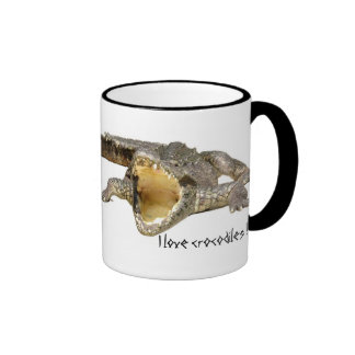 I love crocodiles ! ringer coffee mug