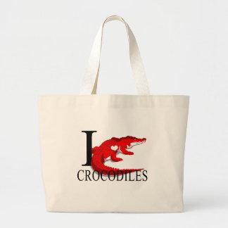I Love Crocodiles Tote Bags