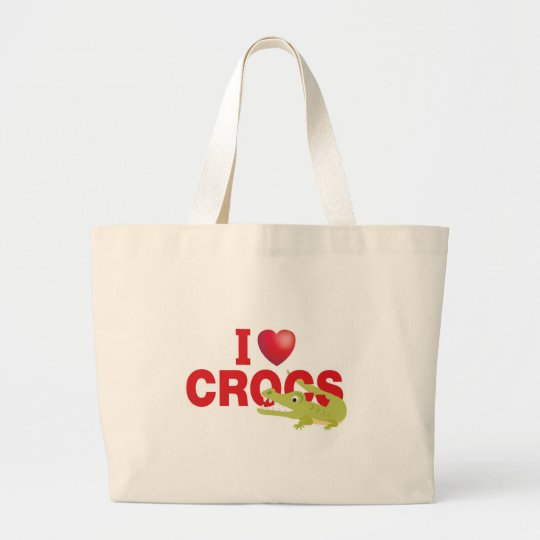 i love crocs large tote bag