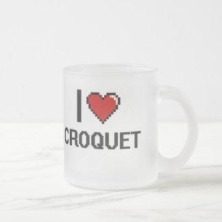 I Love Croquet Digital Retro Design 10 Oz Frosted Glass Coffee Mug