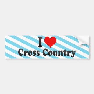 I Love Cross Country Car Bumper Sticker