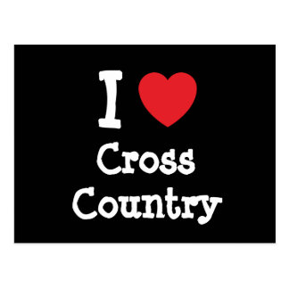 I love Cross Country heart custom personalized Postcard