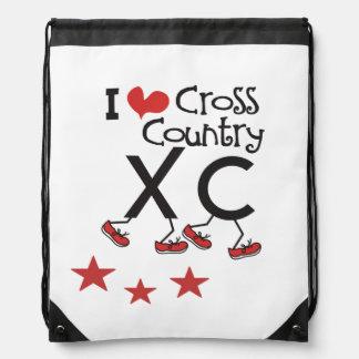 I love Cross Country Runner XC Drawstring Backpack