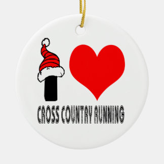 I Love Cross Country Running Design Double-Sided Ceramic Round Christmas Ornament