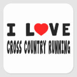 I Love Cross Country Running Square Sticker