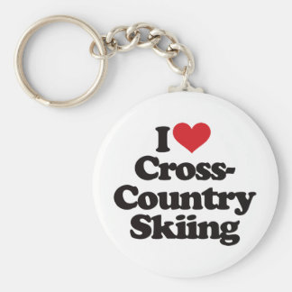 I Love Cross Country Skiing Basic Round Button Keychain