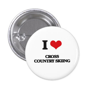 I Love Cross Country Skiing Pinback Button