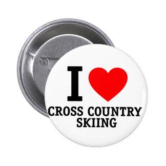 I Love Cross Country Skiing Pin