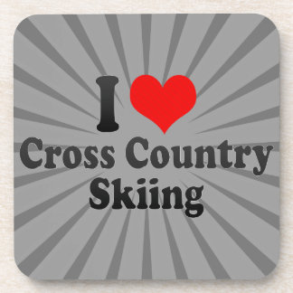 I love Cross Country Skiing Drink Coaster