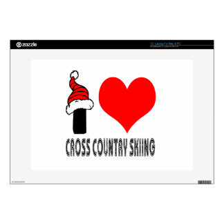 I Love Cross Country Skiing Design Decal For Laptop