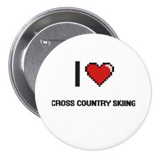 I Love Cross Country Skiing Digital Retro Design 3 Inch Round Button