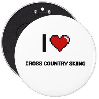 I Love Cross Country Skiing Digital Retro Design 6 Inch Round Button