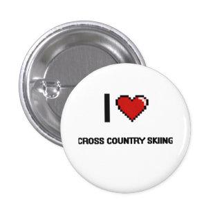 I Love Cross Country Skiing Digital Retro Design 1 Inch Round Button