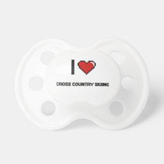 I Love Cross Country Skiing Digital Retro Design BooginHead Pacifier