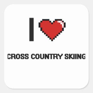 I Love Cross Country Skiing Digital Retro Design Square Sticker