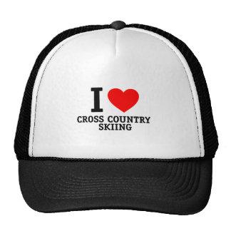 I Love Cross Country Skiing Hats
