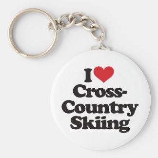 I Love Cross Country Skiing Keychain