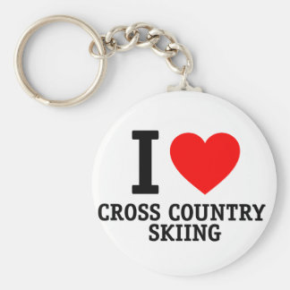 I Love Cross Country Skiing Keychains