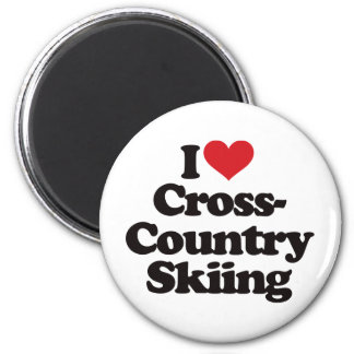 I Love Cross Country Skiing 2 Inch Round Magnet
