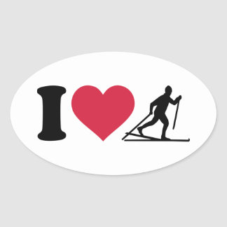 I love Cross-country skiing Oval Sticker