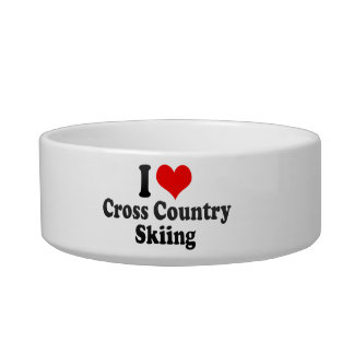 I love Cross Country Skiing Cat Water Bowls