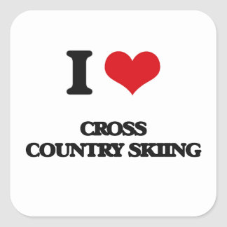 I Love Cross Country Skiing Square Sticker