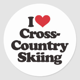 I Love Cross Country Skiing Classic Round Sticker
