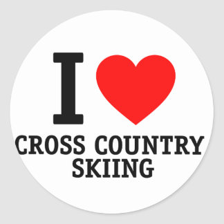 I Love Cross Country Skiing Sticker