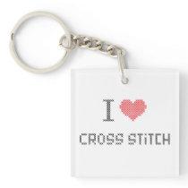 i love cross stitch keychain