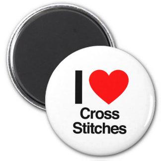 i love cross stitches refrigerator magnet