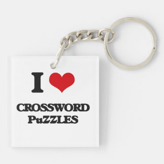 I love Crossword Puzzles Acrylic Keychain