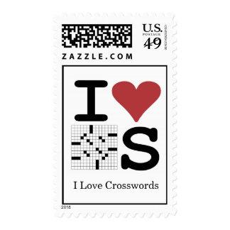 """I Love Crosswords"" postage stamps"