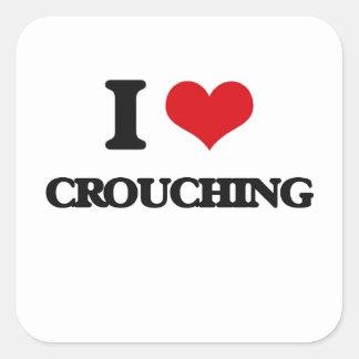 I love Crouching Square Sticker
