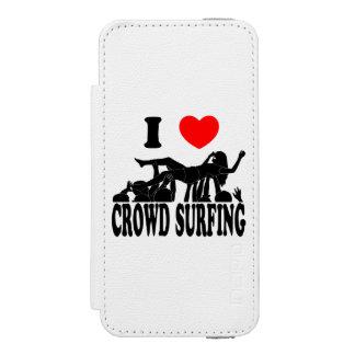 I Love Crowd Surfing (female) (blk) iPhone SE/5/5s Wallet Case