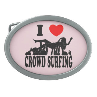 I Love Crowd Surfing (female) (blk) Oval Belt Buckle