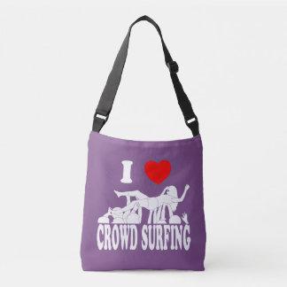 I Love Crowd Surfing (female) (wht) Crossbody Bag