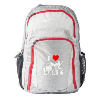 I Love Crowd Surfing (female) (wht) Nike Backpack