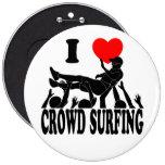 I Love Crowd Surfing (male) (blk) Pinback Button