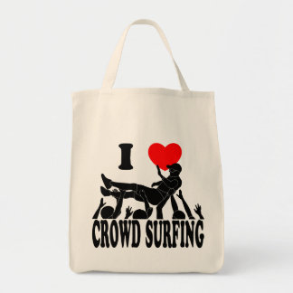 I Love Crowd Surfing (male) (blk) Tote Bag