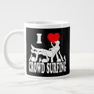 I Love Crowd Surfing (male) (wht) Large Coffee Mug