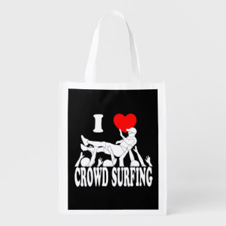 I Love Crowd Surfing (male) (wht) Reusable Grocery Bag
