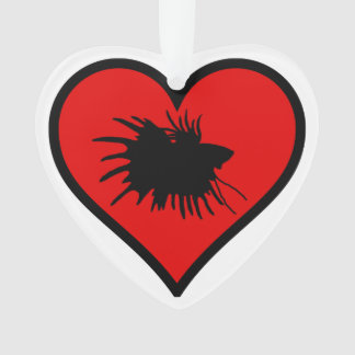I Love Crown Tail Betta Fish Silhouette red Heart
