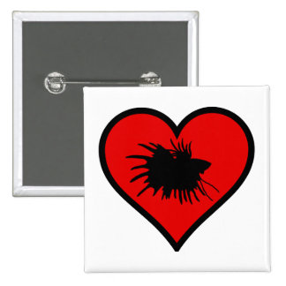 I Love Crown Tail Betta Fish Silhouette red Heart 2 Inch Square Button