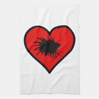 I Love Crown Tail Betta Fish Silhouette red Heart Kitchen Towels