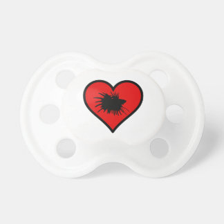 I Love Crown Tail Betta Fish Silhouette red Heart Pacifier