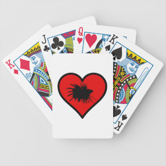 I Love Crown Tail Betta Fish Silhouette red Heart Bicycle Playing Cards