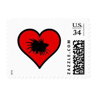 I Love Crown Tail Betta Fish Silhouette red Heart Stamp