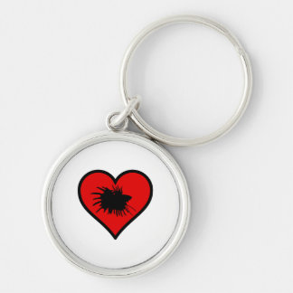 I Love Crown Tail Betta Fish Silhouette red Heart Silver-Colored Round Keychain