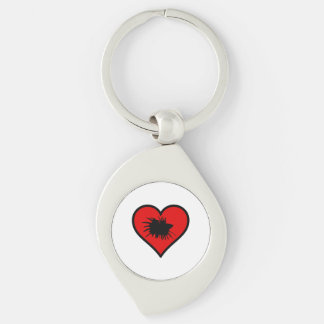 I Love Crown Tail Betta Fish Silhouette red Heart Silver-Colored Swirl Metal Keychain