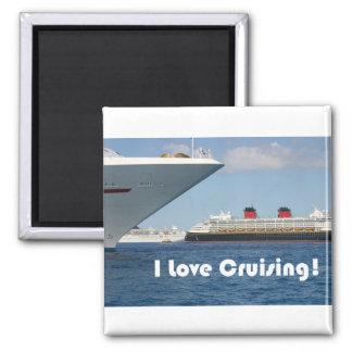 I Love Cruising 2 Inch Square Magnet